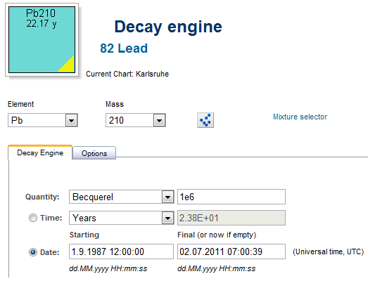 Nucleonica Blog » Nucleonica's Decay Engine now with Date